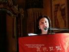 Nepal, Central Region, Bagmati Zone, Kathmandu, Bal Mandir, Khulla Dhoka exhibition, inauguration ceremony: Sangeeta Thapa, curator of the Siddhartha Gallery addressing to the public