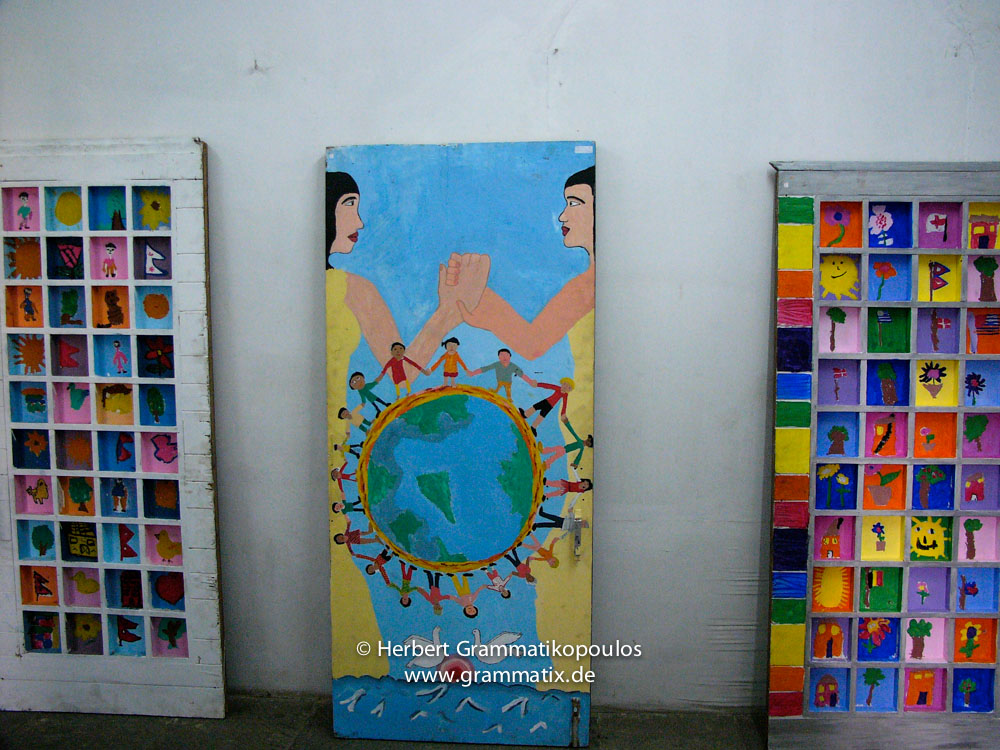 Nepal, Central Region, Bagmati Zone, Kathmandu, Bal Mandir, Khulla Dhoka Exhibition: Three of the best works of children from Lincoln School Kathmandu