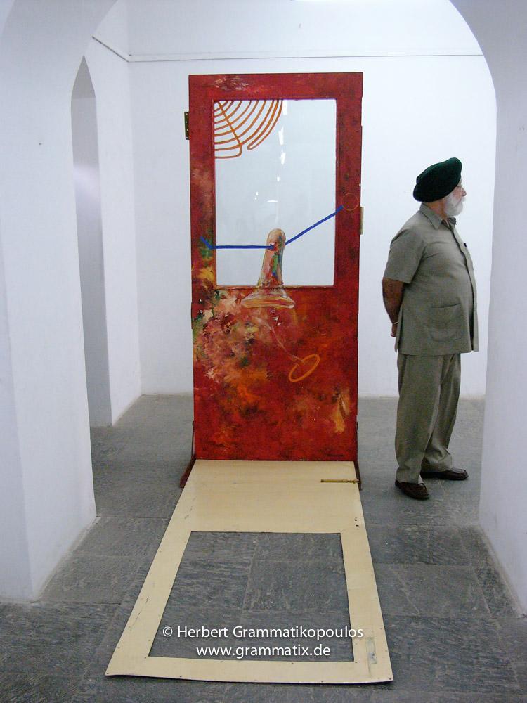 Nepal, Central Region, Bagmati Zone, Kathmandu, Bal Mandir, Khulla Dhoka Exhibition: Painted door of Manish Lal Shrestha (see Khulla Dhoka book, page 53) in the corridor