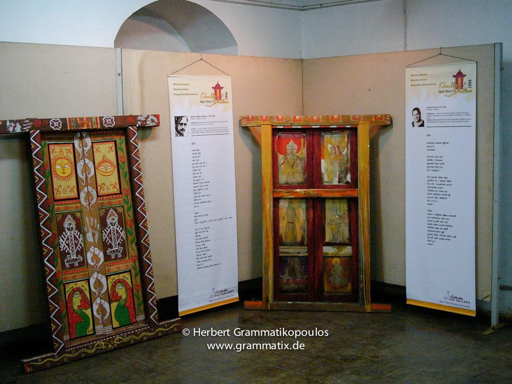 Nepal, Central Region, Bagmati Zone, Kathmandu, Bal Mandir, Khulla Dhoka exhibition: On the left door of Shaym Sundar Yadav with a poem of Bishnu Bibhu Ghimire (see Khulla Dhoka book, page 86) und Türe von Pradip K. Bajracharya und Uygen Tenzin mit dem Gedicht von Laxmi Uprety (see Khulla Dhoka book, page 62)