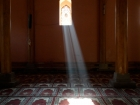 India, Kashmir, Srinagar: Window in a prayer hall of the  Jamia Masjiz Mosque
