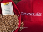 Germany, Stuttgart-Moehringen: Farmers and friends of the biolocical working Reyerhof having a religious ceremony for sowing the old traditional winter- wheat kind 'Viva' on their field. App. 500 corns per sqm, 100 kg per hectar is needed
