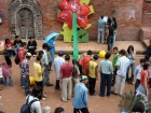 Nepal, Central Region, Bagmati Zone, Lalitpur, Patan, Sutra International Workshop at Patan Durbar Square: Jasmine Rajbhandari's installation and in the foreground Masum Chisty's from Bangladesh mobile installation
