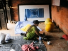 Nepal, Central Region, Bagmati Zone, Lalitpur, Patan, Sutra International Workshop at Patan Durbar Mul Chowk: Jasmine Rajbhandari preparing her installation