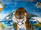 Tibet, Gyantse, Baiju Monastery (Pelkor Chöde), the Kumbum Stupa: Fresco with a funny tiger in the entrance gate