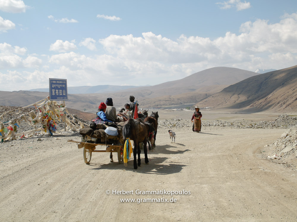 Tibet, Ngamring, Chumbu La (4345m): A family coming from the village of Lulung; in a few km the highway from Kathmandu meets the highway to Lhartse